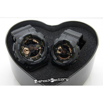 G-Shock & Baby-G GA-110 & BA-110 Couple Watch Set Black & Bronze