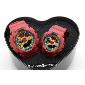 G-Shock & Baby-G GA-110FC & BA-110FC Hyper Color Matte Red Couple Watch Set