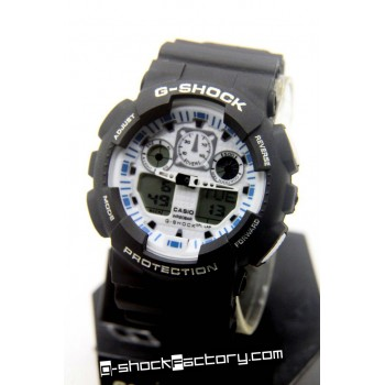 G-Shock GA-100 Black/White/Blue Wrist Watch