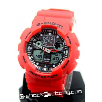 G-Shock GA-100 Red & Black Wrist Watch